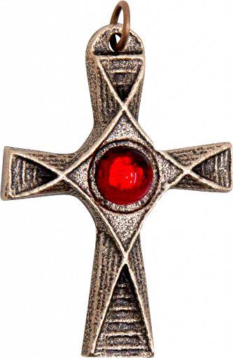 Bronzekreuz mit rotem Schmuckstein