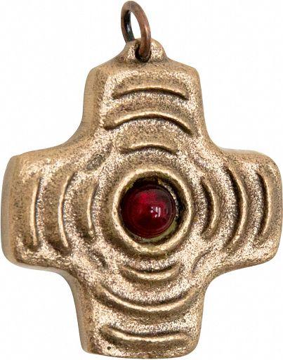 """Kreuz Bronze """"Strahlen"""" mit rotem Schmuckstein"""