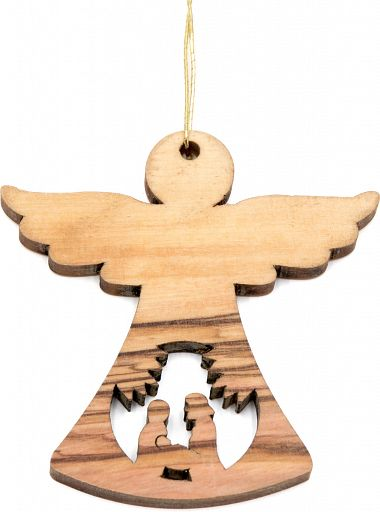 Christbaumanhänger Olivenholz - Engel mit Krippe