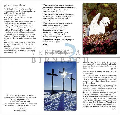 Faltkarte zur Trauer, Trauerkarte