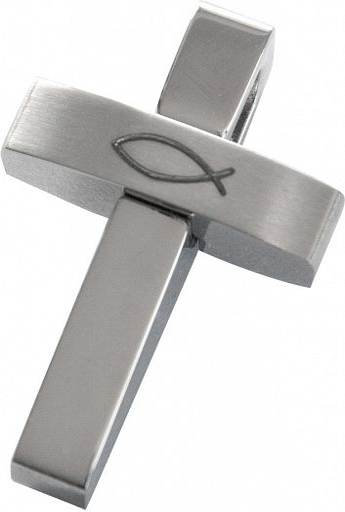 Konfikreuz, 3D-Kreuz mit Fisch-Symbol