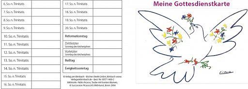 10erSet Meine Gottesdienstbesuchskarte, Kirchenbesuchskarte - Taube