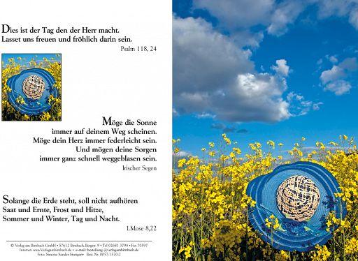 Bibelspruchkarten: Hut im Rapsfeld