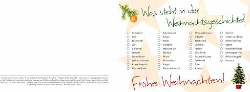 Bibelspruchkarte: Weihnachtsgeschichte Rätsel