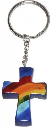 Schlüsselanhänger aus Speckstein - Regenbogen-Kreuz, blau, fair produziert