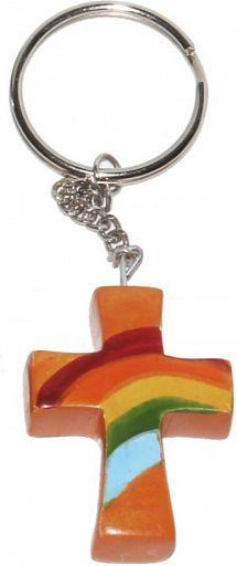 Schlüsselanhänger aus Speckstein - Regenbogen-Kreuz, orange, fair produziert