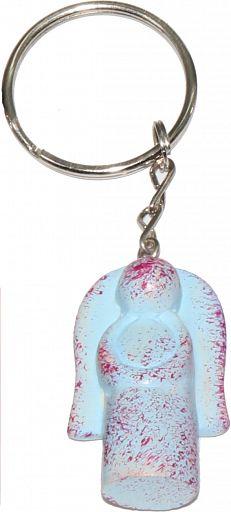 Schlüsselanhänger aus Speckstein - Regenbogen-Kreuz, hellblau, fair produziert