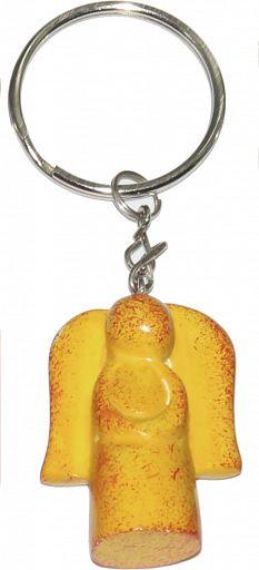 Schlüsselanhänger aus Speckstein - Regenbogen-Kreuz, gelb, fair produziert
