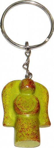 Schlüsselanhänger aus Speckstein - Engel hellgrün, fair produziert