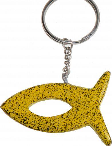 Speckstein-Schlüsselanhänger Fisch, gelb