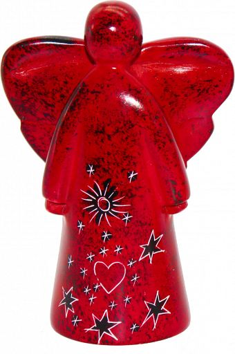 Speckstein-Engel mit Herz und Sternen, rot