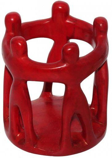 Teelicht 5 Freunde, aus Speckstein, rot