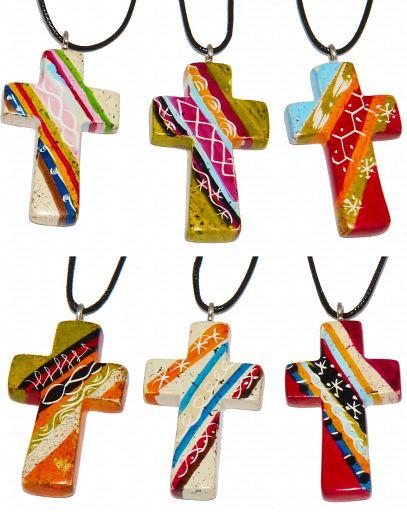 Speckstein Kreuz Anhänger, African Summer