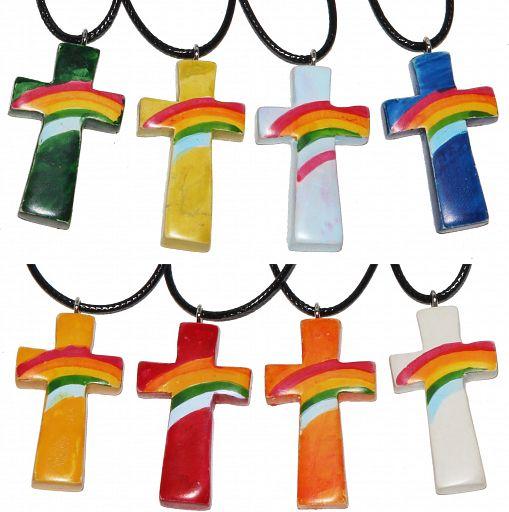 Speckstein Kreuz Anhänger, Regenbogen