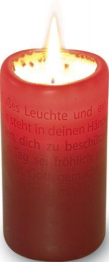 Textlicht-Kerze Bibelworte, bordeaux rot