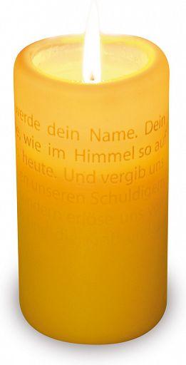 Textlicht-Kerze Vater unser, gelb