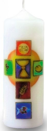 Erntedankkerze Symbole im Kreuz