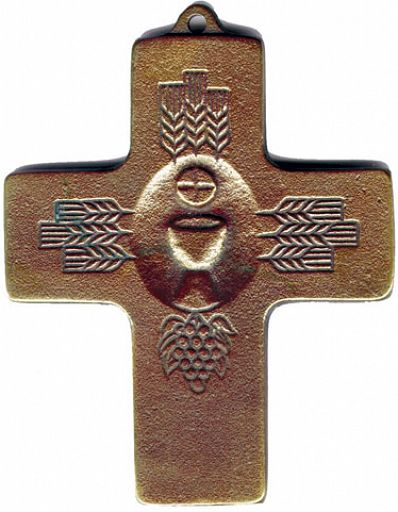 Großes Erntedankkreuz, Kelch und Ähren, aus Bronze