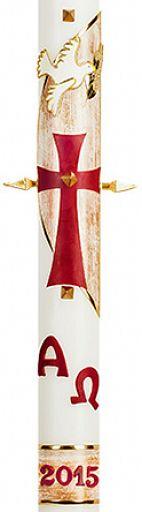Große Osterkerze 10x80 cm, Kreuz mit Taube und Alpha-Omega