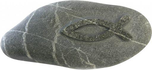 Stein Handschmeichler mit Fischsymbol