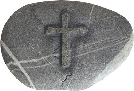 Stein Handschmeichler mit Kreuz