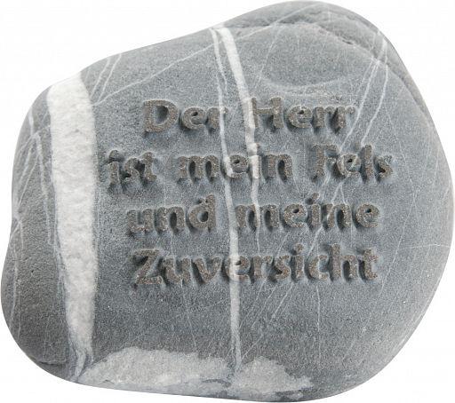"""Stein mit Psalm """"Der Herr ist mein Fels …"""""""