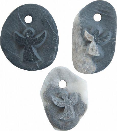 Stein Anhänger mit Gravur - Engel