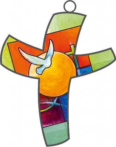 Farbkreuz mit christlichen Symbolen, Bahlinger Taufmotiv