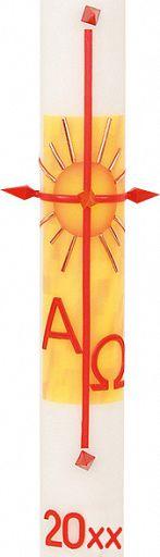 Große Osterkerze für Kirche, Alpha Omega, 8x60 cm