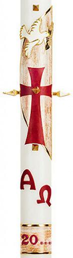 Große Osterkerze 8x60 cm, Kreuz mit Taube und Alpha-Omega