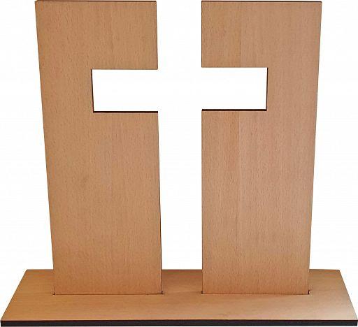Standkreuz aus Holz, Buche, 21 cm hoch
