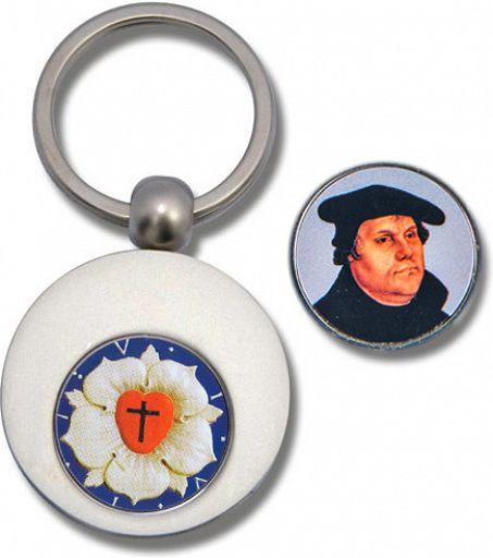 Schlüsselanhänger Lutherrose mit Einkauf-Chip
