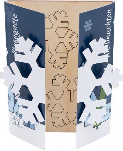 Holzkarte 3D, Schneeflocke
