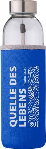 """Trinkflasche in Neoprenhülle """"Quelle des Lebens"""", blau"""