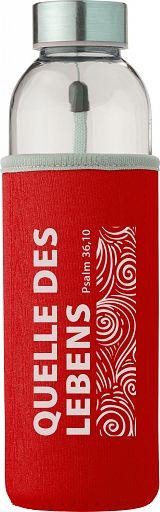 """Trinkflasche in Neoprenhülle """"Quelle des Lebens"""", rot"""