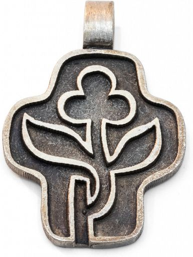 Anhänger Kreuz/Blume Sterlingsilber