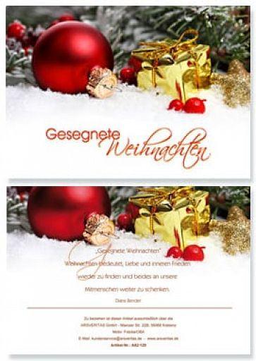 """Weihnachtskarte """"Gesegnete Weihnachten"""""""