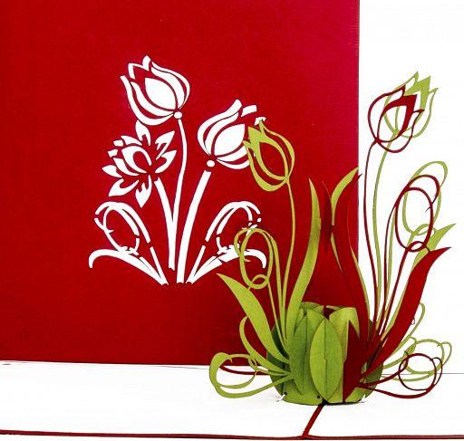 Pop-Up Karte - Tulpen, rot
