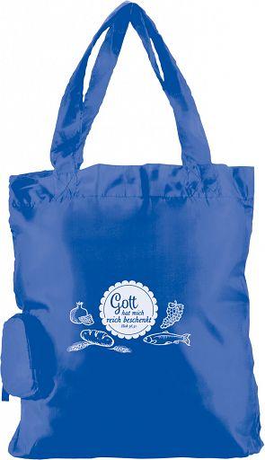 """Einkaufstasche """"Gott hat mich reich beschenkt"""", blau"""