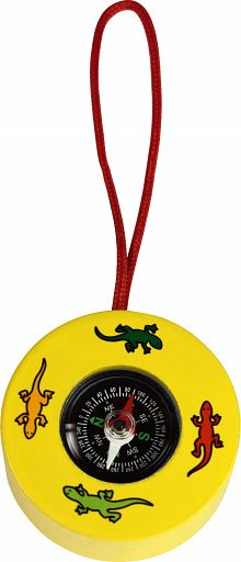 Kompass in Holzfassung, gelb