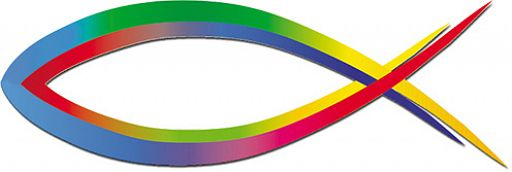 Fisch-Aufkleber für Auto, Ichthys-Regenbogen-Aufkleber