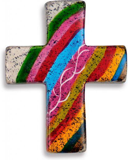 Kreuz handgemalt & Fairtrade - Regenbogenfarben