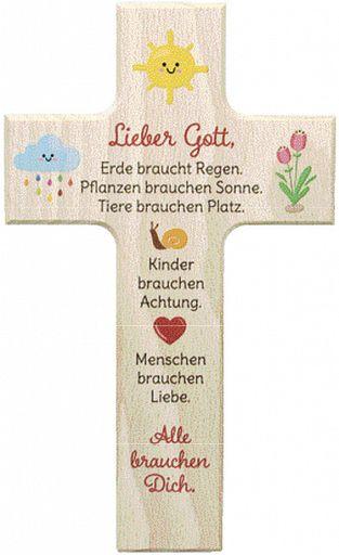 Holzkreuz bunt bedruckt, Lieber Gott