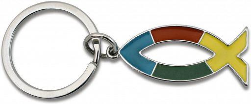 Schlüsselanhänger Ichthys, regenbogenfarben