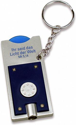 LED-Schlüsselanhänger mit Einkaufchip, blau