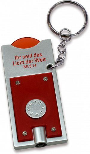LED-Schlüsselanhänger mit Einkaufchip, rot