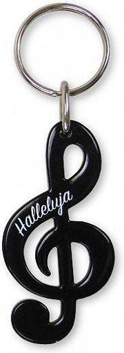 Schlüsselanhänger Notenschlüssel - schwarz