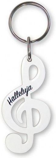 Schlüsselanhänger Notenschlüssel - weiß
