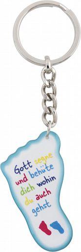 Schlüsselanhänger Fuß, emailliert: Gott segne und behüte dich