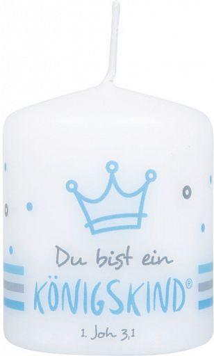 """Kleine Kerzen """"Du bist ein Königskind"""", blau"""